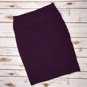 LuLaRoe Cassie Purple Tonal Aztec Pencil Skirt